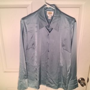 Talbots silk blouse bluish green